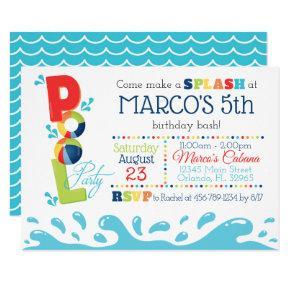 Pool Birthday Party Invitation - Pool Party