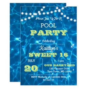 Pool Lights Lime Sweet 16 Birthday Invitation