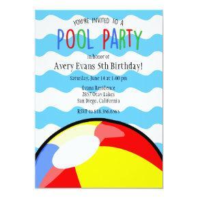 Pool Party Beach Ball Birthday Invitations