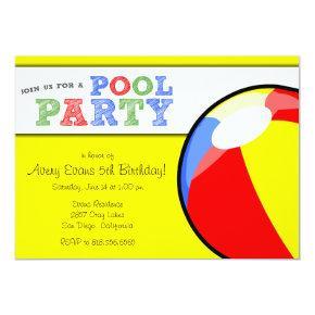 Pool Party Beach Ball Birthday Invitation