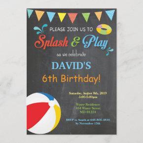 Pool Party Birthday Invitation Splish Splash Boy