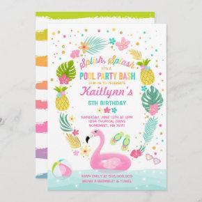 Pool Party Birthday Invitation Tropical Flamingo