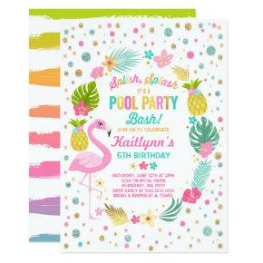 Pool Party Birthday Invitation Tropical Flamingo