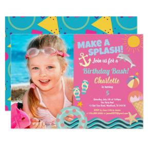 Pool party birthday photo invitation for girl