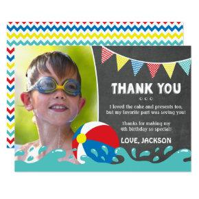 Pool Party Birthday Thank You Invitations with Photo