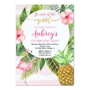 Pool party birthday, tropical pink and gold girl invitation