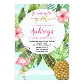 Pool party birthday, tropical pink teal gold invitation