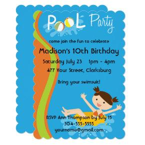 Pool Party Brunette Invitations