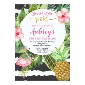 Pool party girl birthday, flamingo tropical invitation