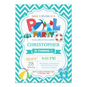 Pool Party Invitation Aqua Splish Splash Boy