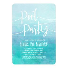 Pool Party Invitation Blue Watercolor Birthday