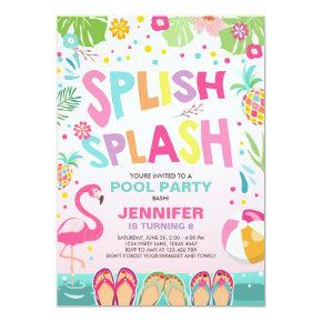 Pool party invitation Flamingo Tropical Pineapple