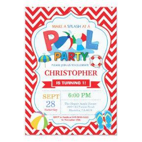 Pool Party Invitation Red Splish Splash Boy