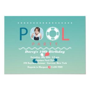 Pool Party Photo Invitation
