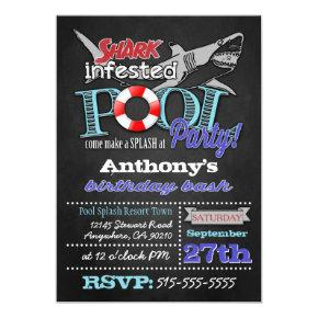 Pool Party Shark Birthday Invitations