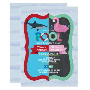Pool Party Shark Flamingo Joint Boy girl Birthday Invitation
