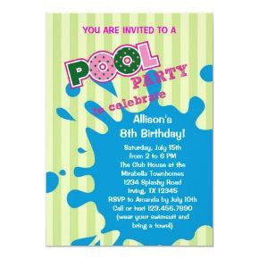 Pool Party Summer Birthday Invitations
