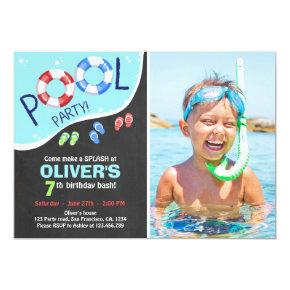 Pool Party Summer Chalkboard Birthday Invitation