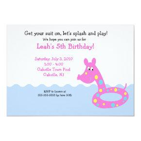 POOL Party Swimming Tube  Birthday Invitations