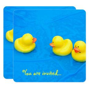 Pool Party with yellow ducks Invitations