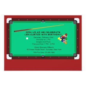 Pool Table Invitations