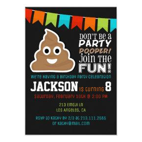 Poop Emoji Funny Boys Birthday Party Invitations
