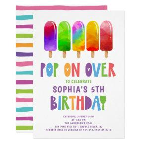 Pop On Over Popsicles Birthday Party Invitation