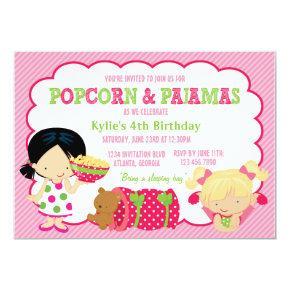 Popcorn and Pajamas Sleepover Party Invitation