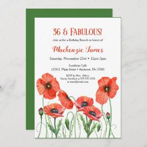 Poppies Floral Birthday Invitation Adult Poppy