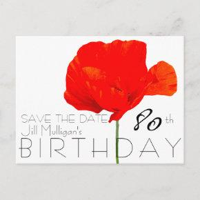 POPPY Collection 80th Birthday Save the Date Announcement PostInvitations