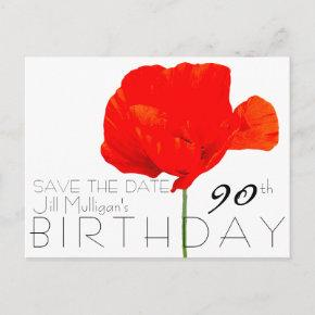 POPPY Collection 90th Birthday Save the Date Announcement Postcard