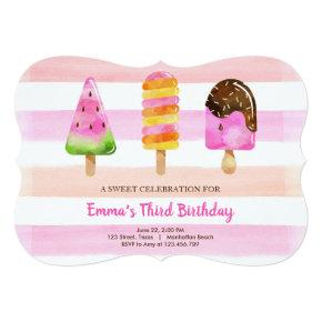 Popsicle Ice Cream Birthday Summer Pool Party Invitation