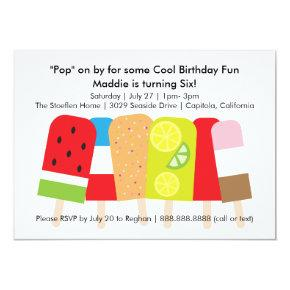 Popsicle Summer Birthday Party Card