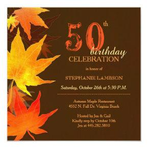 Posh Fall Maple 50th Birthday Party Invitation