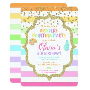 Pottery painting paint birthday party invitation
