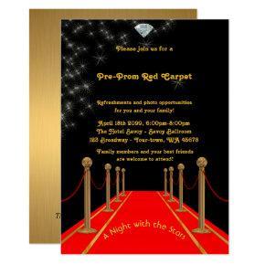 Pre-Prom invitation, Pre Prom,Red-Carpet,15th,16th Invitation