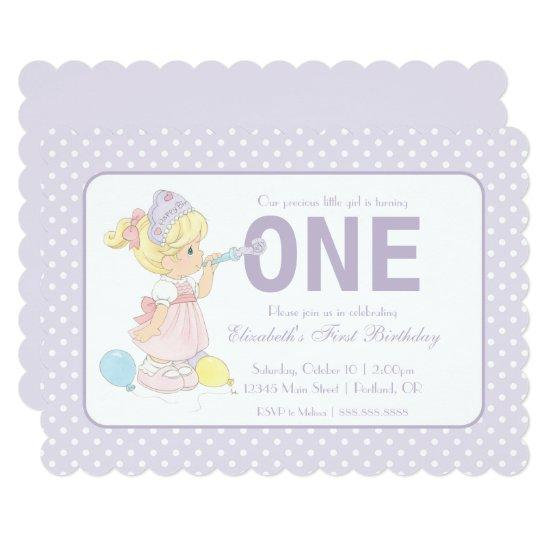 Precious Moments First Birthday Balloons Girl Invitations