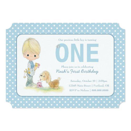 Precious Moments First Birthday Boy With Puppy Invitations