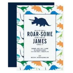 Preppy Boy Dinosaur Birthday Party Invitations
