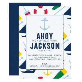 Preppy Nautical Children's Birthday Party Boy Invitation