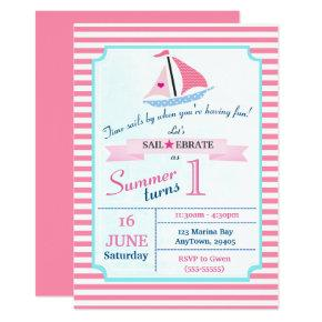 Preppy Nautical Pink Sail Away Birthday for Girl Invitation