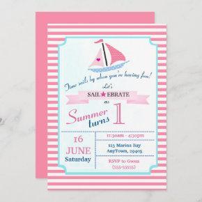 Preppy Nautical Pink Sail Away Birthday for Girl Invitation