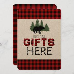 Presents Table Sign - Lumberjack Party Invitation