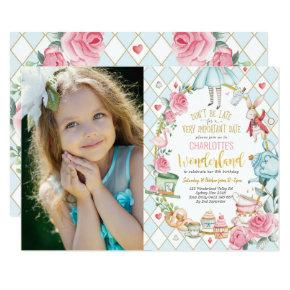 Pretty Alice in Wonderland 1st Birthday Tea Party Invitation