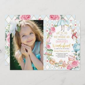 Pretty Alice in Wonderland 1st Birthday Tea Party Invitation