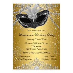Pretty Black and Gold Masquerade Party Invitations