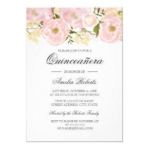 Pretty Blush Pink Floral Quinceanera Invitation