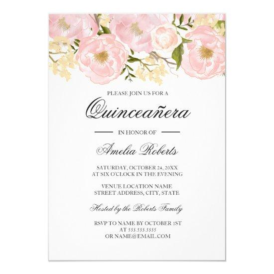 Pretty Blush Pink Floral Quinceanera Invitation Candied Clouds