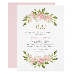 Pretty Blush Pink Roses and Gold | 100th Birthday Invitation