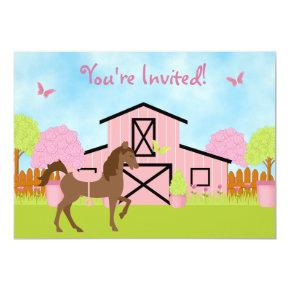 Pretty Brown Horse and Flowers Birthday Invitations